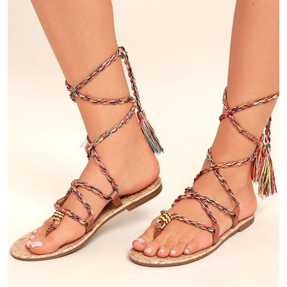 8c0123d143a Sam Edelman Rainbow Rope Lace Up Sandals